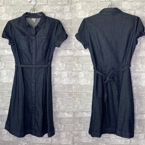 🎉Merona denim button closure tie dress B2